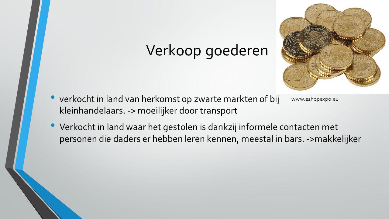 Verkoop goederen verkocht in land van herkomst op zwarte markten of bij kleinhandelaars. -> moeilijker door transport.