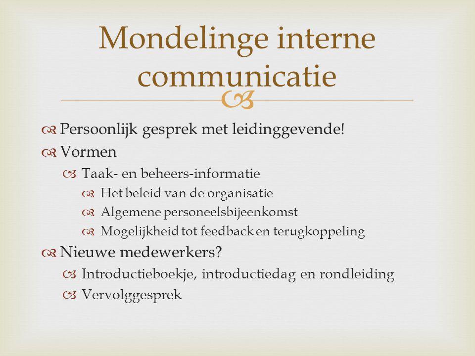 Mondelinge interne communicatie