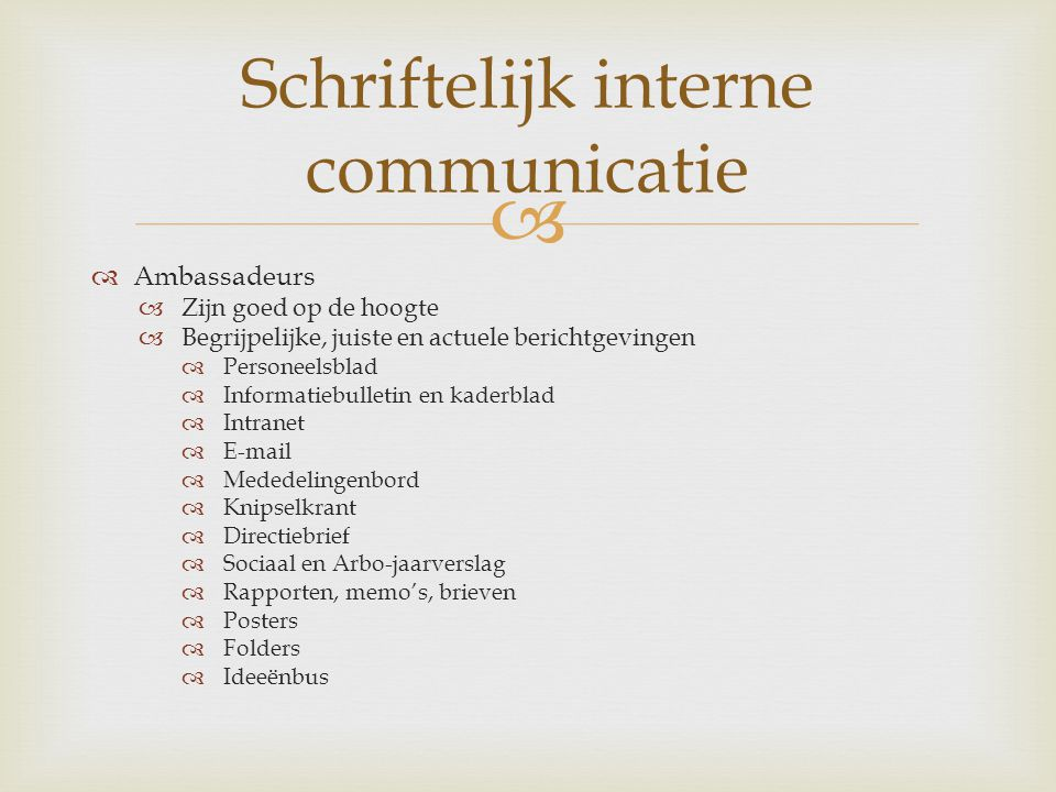 Schriftelijk interne communicatie
