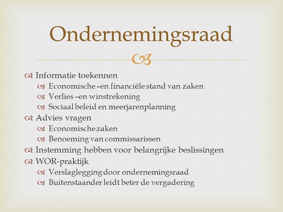 Ondernemingsraad Informatie toekennen Advies vragen