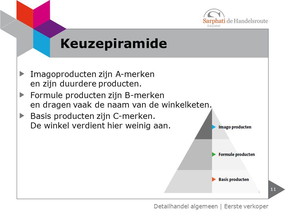 Keuzepiramide Imagoproducten zijn A-merken en zijn duurdere producten.