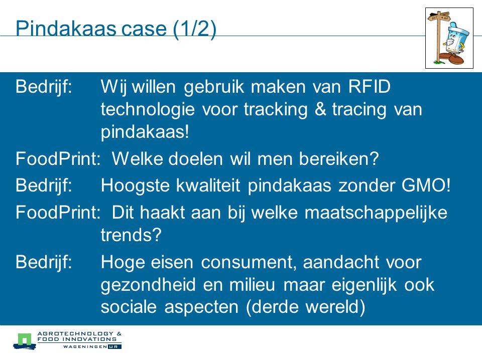 Pindakaas case (1/2) Bedrijf: Wij willen gebruik maken van RFID technologie voor tracking & tracing van pindakaas!