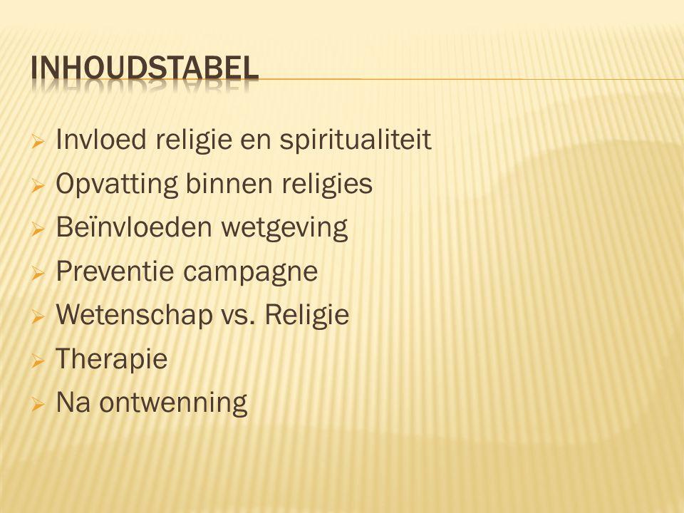 INHOUDSTABEL Invloed religie en spiritualiteit