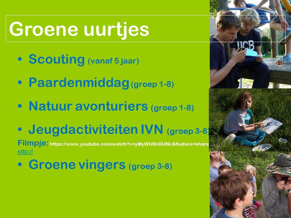 Groene uurtjes Scouting (vanaf 5 jaar) Paardenmiddag (groep 1-8)