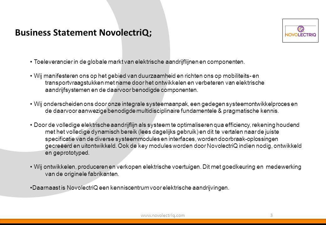 Business Statement NovolectriQ;