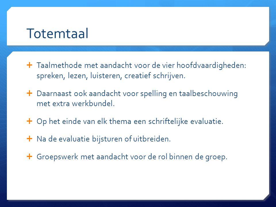 Totemtaal Taalmethode met aandacht voor de vier hoofdvaardigheden: spreken, lezen, luisteren, creatief schrijven.