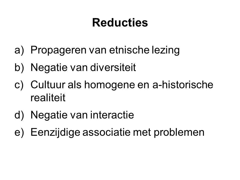 Reducties Propageren van etnische lezing Negatie van diversiteit