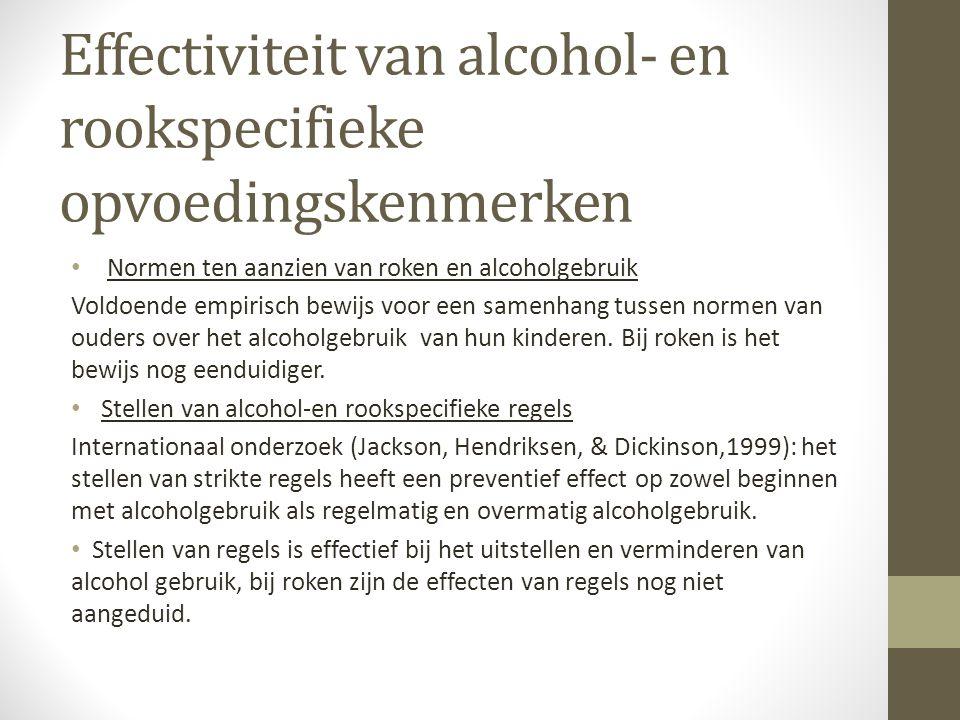 Effectiviteit van alcohol- en rookspecifieke opvoedingskenmerken