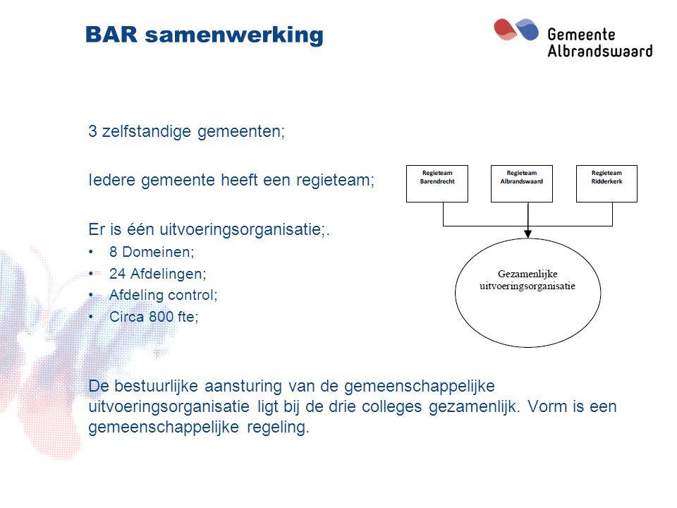 BAR samenwerking 3 zelfstandige gemeenten;