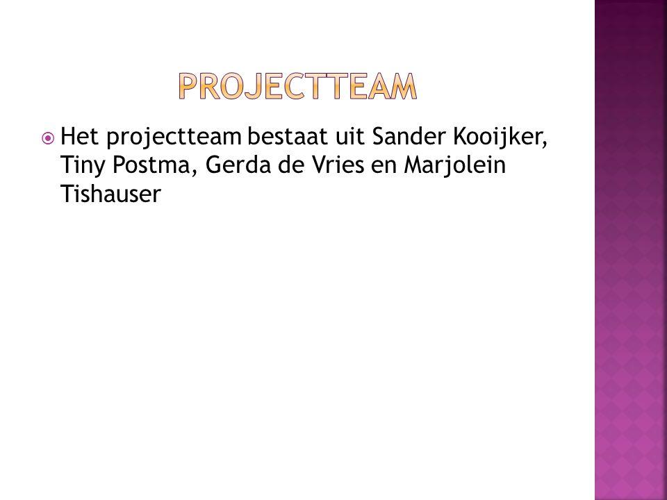 Projectteam Het projectteam bestaat uit Sander Kooijker, Tiny Postma, Gerda de Vries en Marjolein Tishauser.