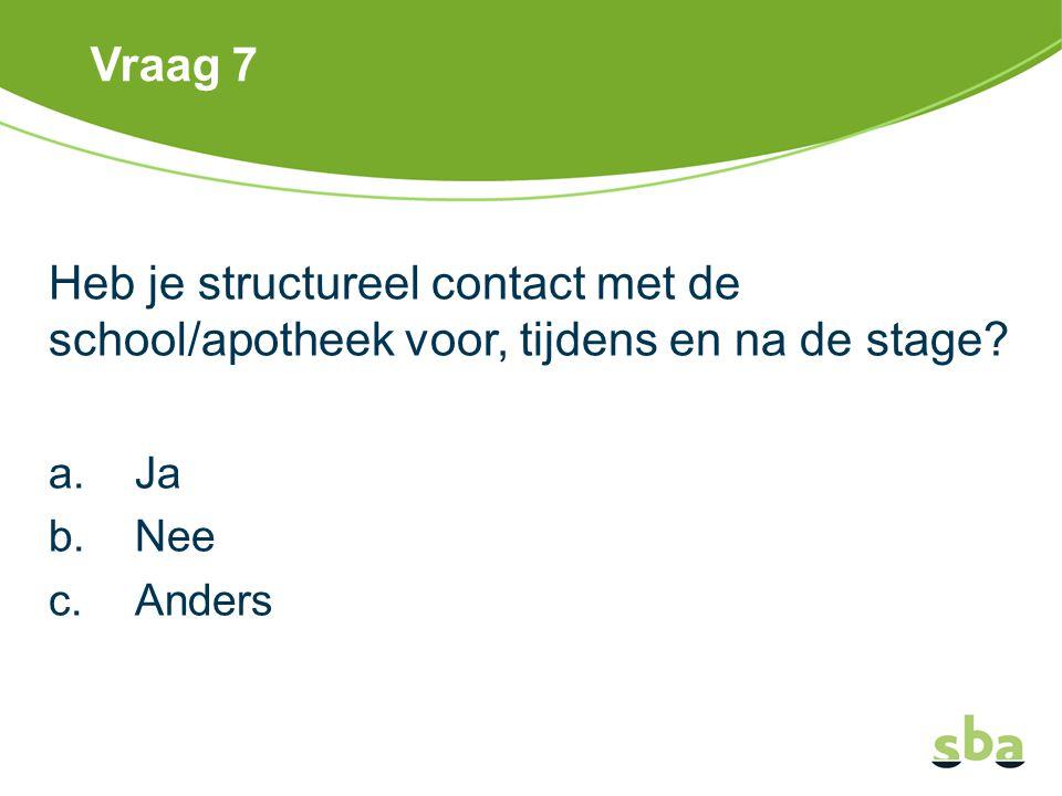 Vraag 7 Heb je structureel contact met de school/apotheek voor, tijdens en na de stage Ja. Nee. Anders.