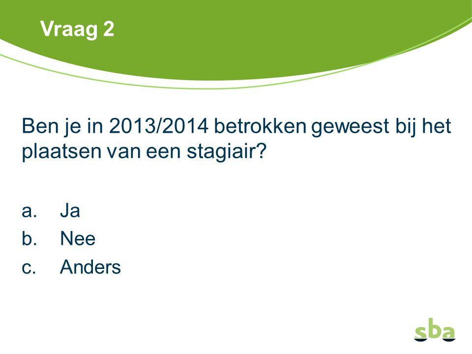 Vraag 2 Ben je in 2013/2014 betrokken geweest bij het plaatsen van een stagiair Ja. Nee. Anders.
