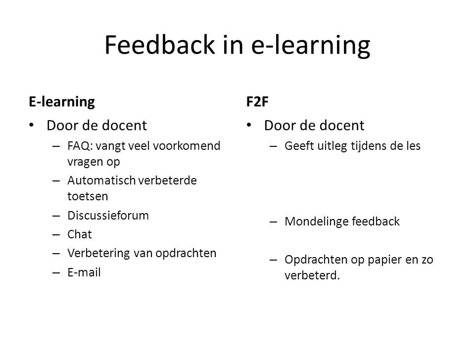Feedback in e-learning