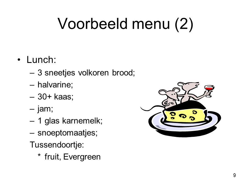 Voorbeeld menu (2) Lunch: 3 sneetjes volkoren brood; halvarine;