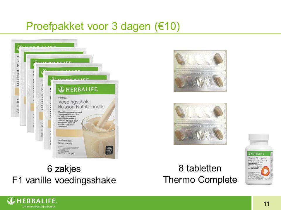 Proefpakket voor 3 dagen (€10)