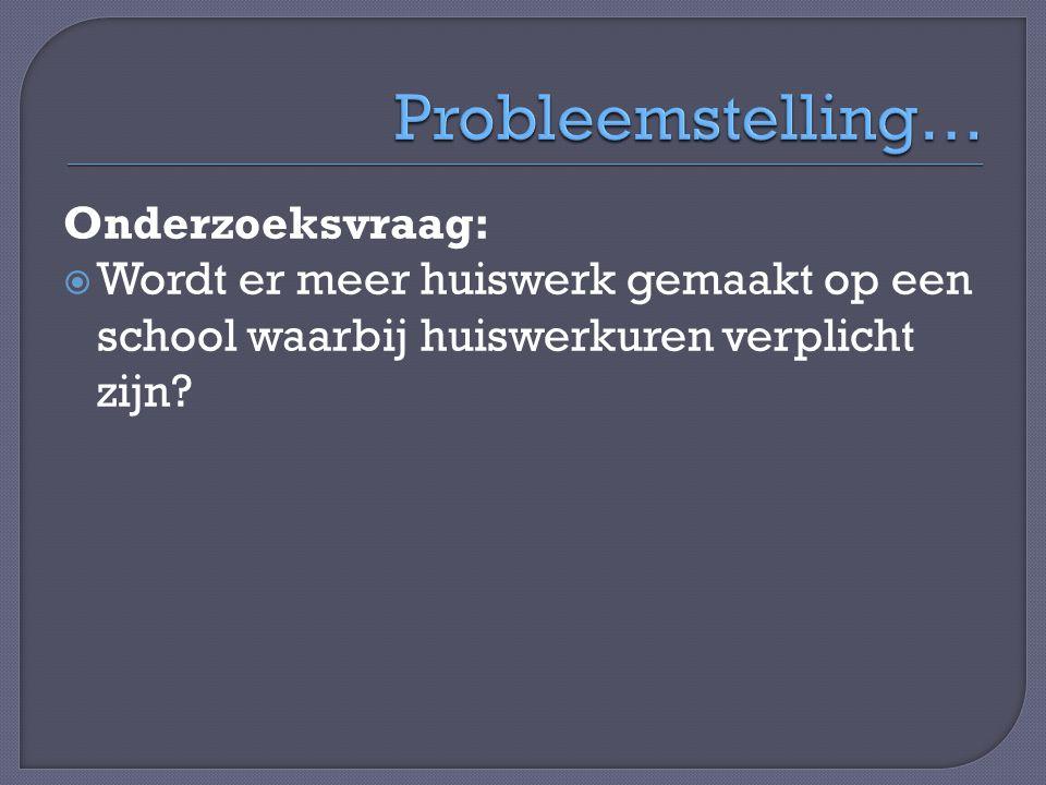 Probleemstelling… Onderzoeksvraag: