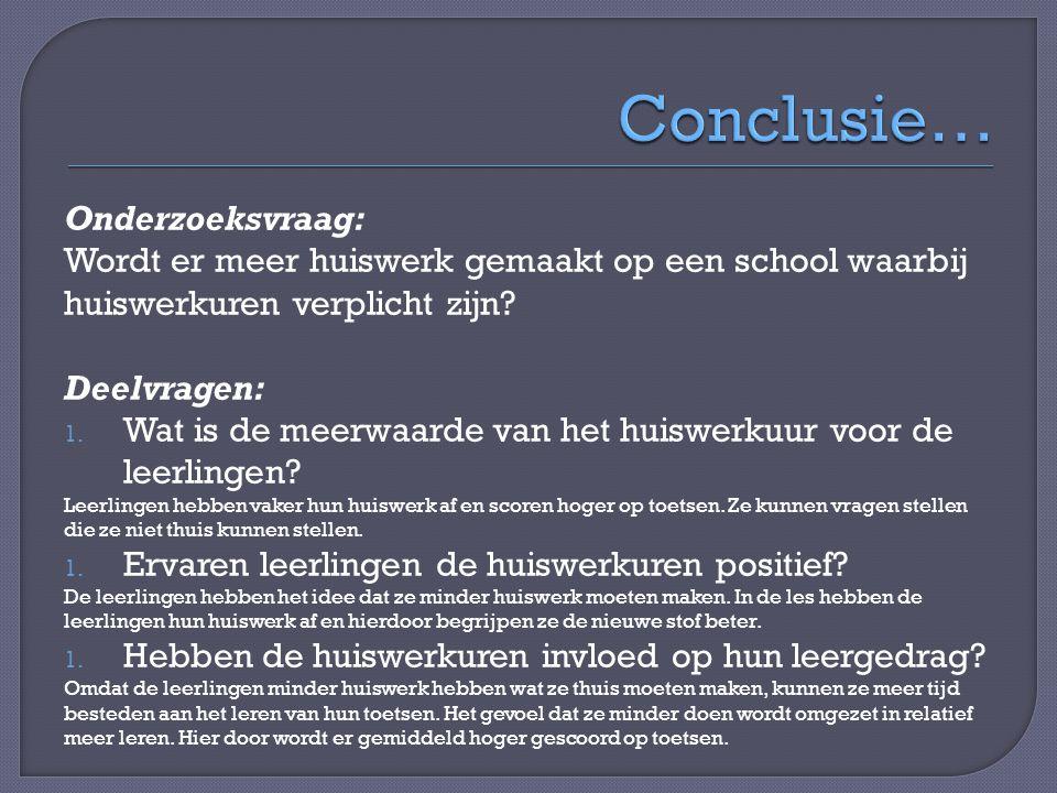 Conclusie… Onderzoeksvraag: