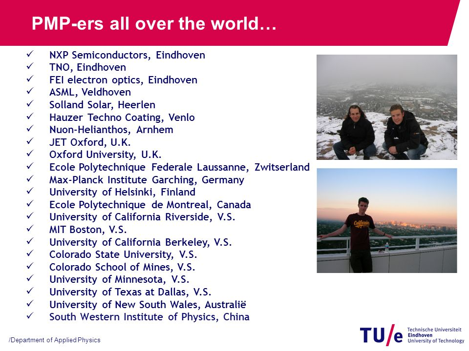 studenten-info op www.phys.tue.nl/pmp