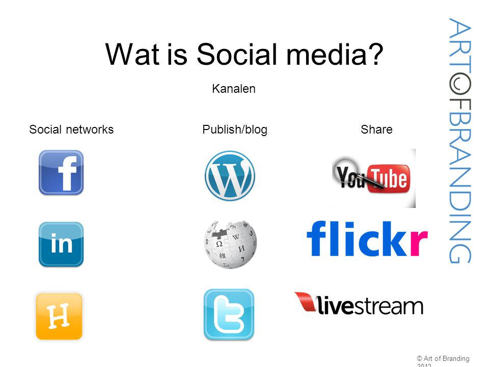 Wat is Social media Kanalen Social networks Publish/blog Share