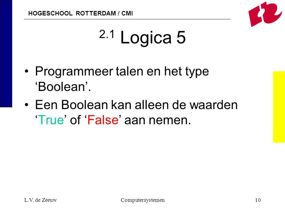 2.1 Logica 5 Programmeer talen en het type 'Boolean'.