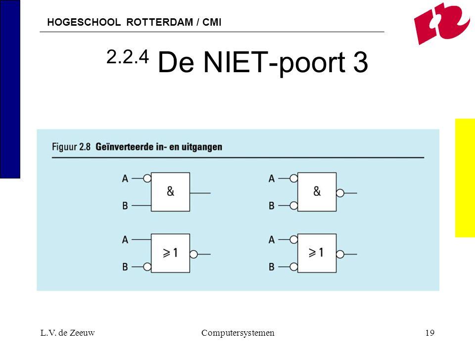 2.2.4 De NIET-poort 3 L.V. de Zeeuw Computersystemen