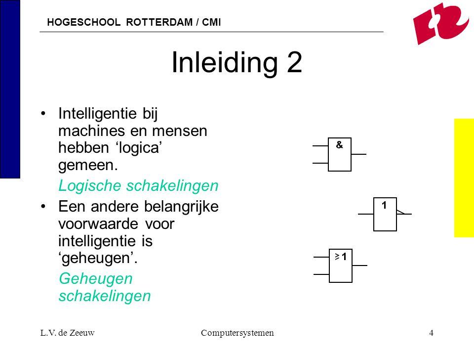 Inleiding 2 Intelligentie bij machines en mensen hebben 'logica' gemeen. Logische schakelingen.
