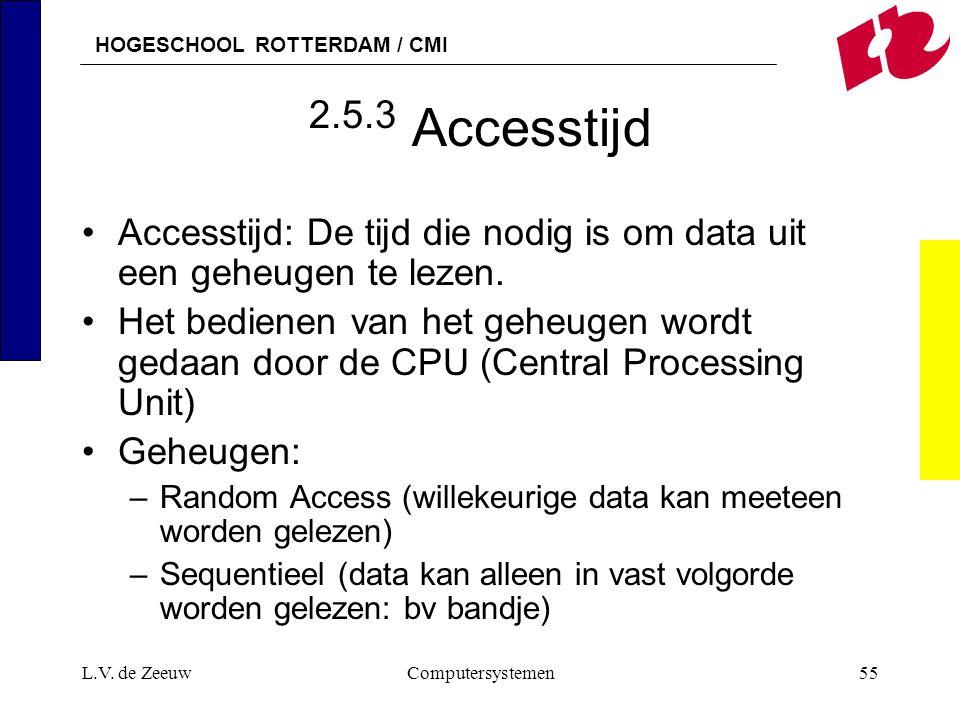 2.5.3 Accesstijd Accesstijd: De tijd die nodig is om data uit een geheugen te lezen.