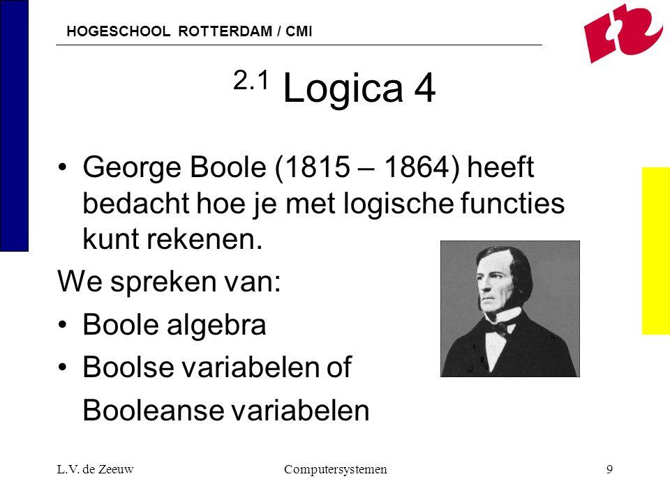 2.1 Logica 4 George Boole (1815 – 1864) heeft bedacht hoe je met logische functies kunt rekenen. We spreken van: