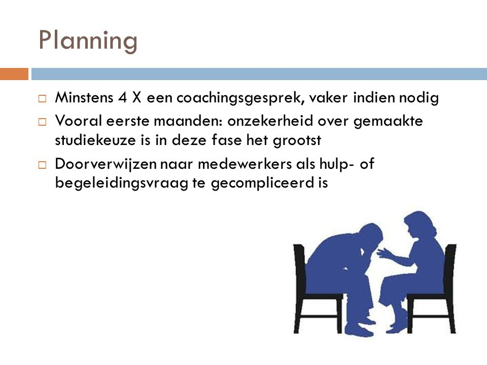Planning Minstens 4 X een coachingsgesprek, vaker indien nodig