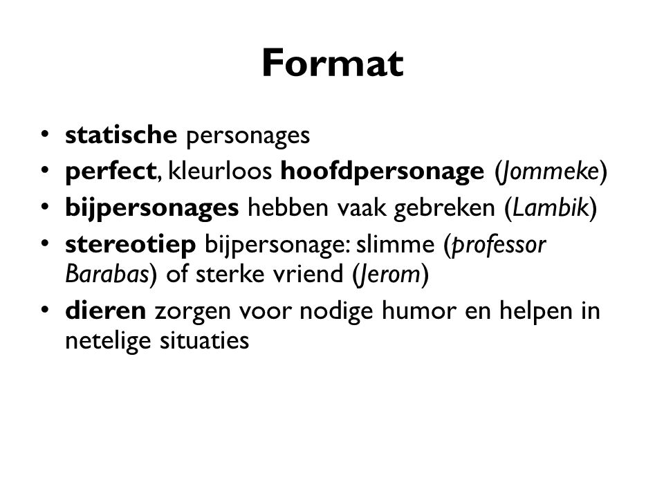 Format statische personages