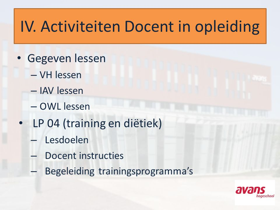 IV. Activiteiten Docent in opleiding