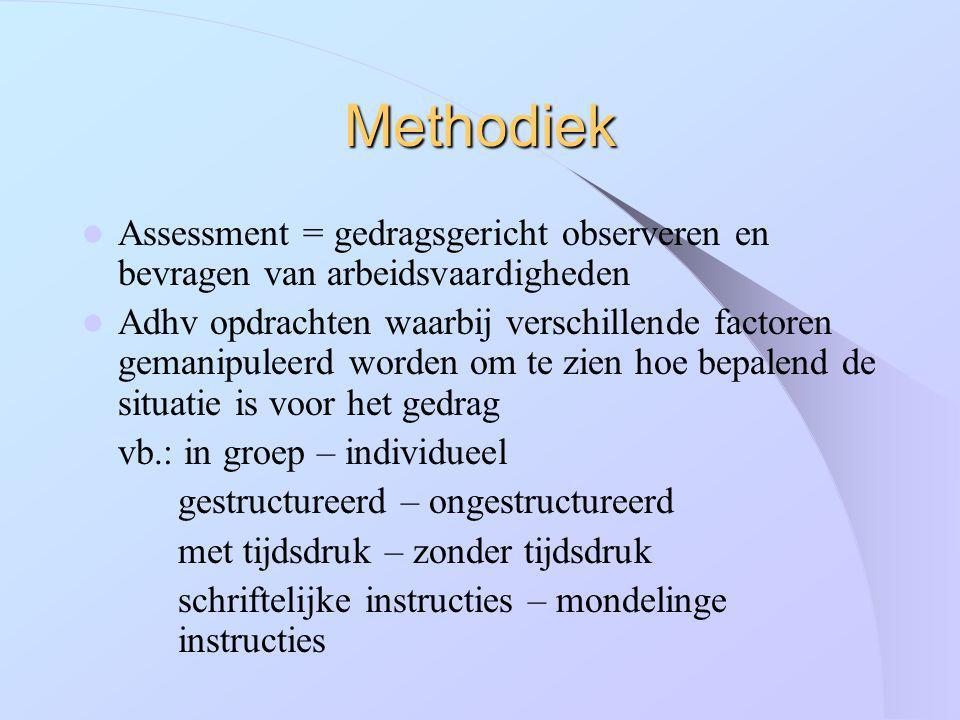 Methodiek Assessment = gedragsgericht observeren en bevragen van arbeidsvaardigheden.