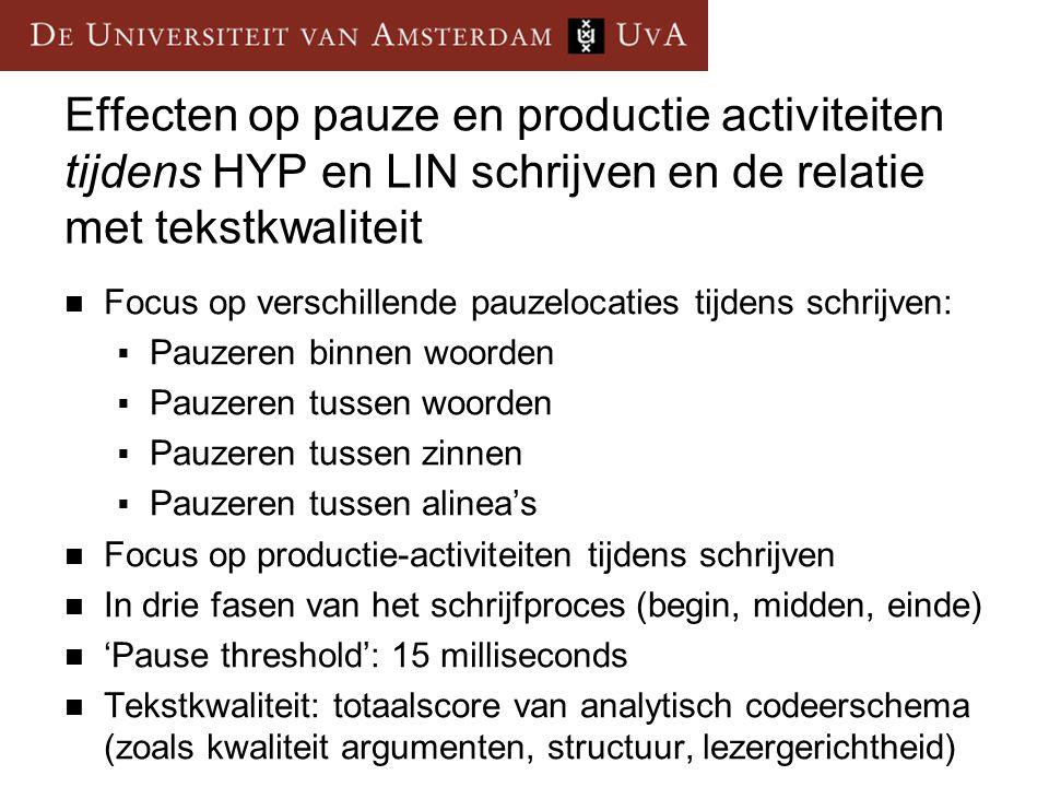 Effecten op pauze en productie activiteiten tijdens HYP en LIN schrijven en de relatie met tekstkwaliteit