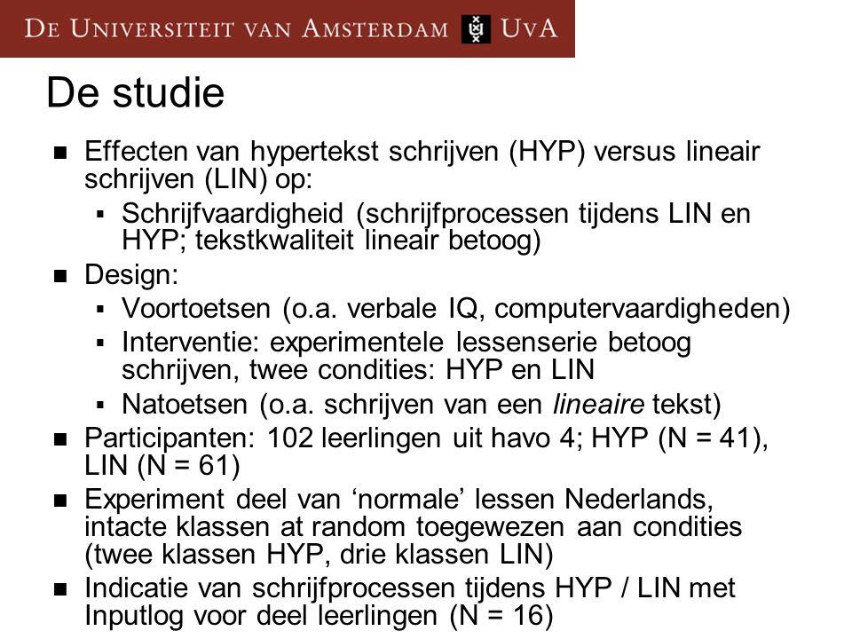 De studie Effecten van hypertekst schrijven (HYP) versus lineair schrijven (LIN) op: