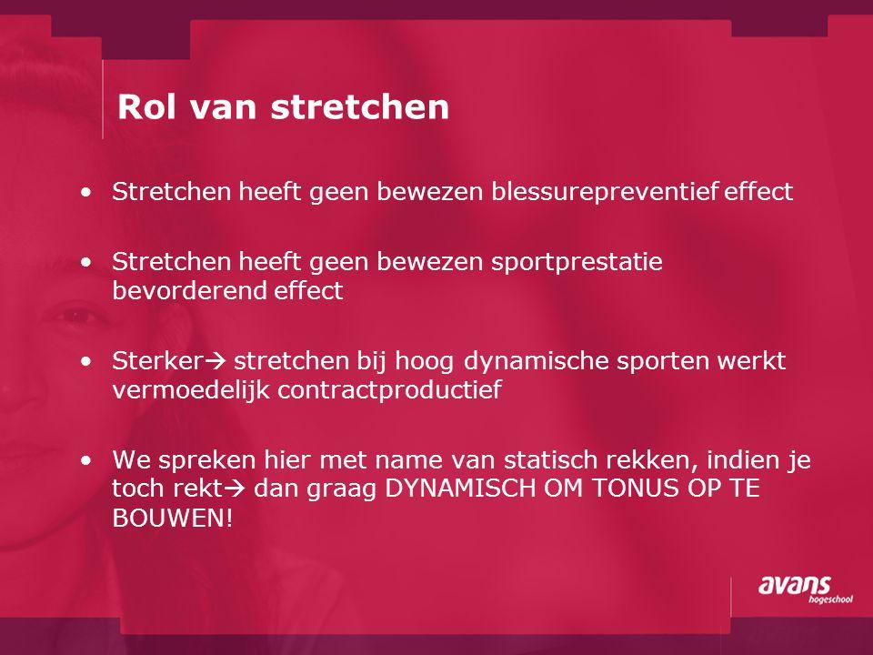 Rol van stretchen Stretchen heeft geen bewezen blessurepreventief effect. Stretchen heeft geen bewezen sportprestatie bevorderend effect.