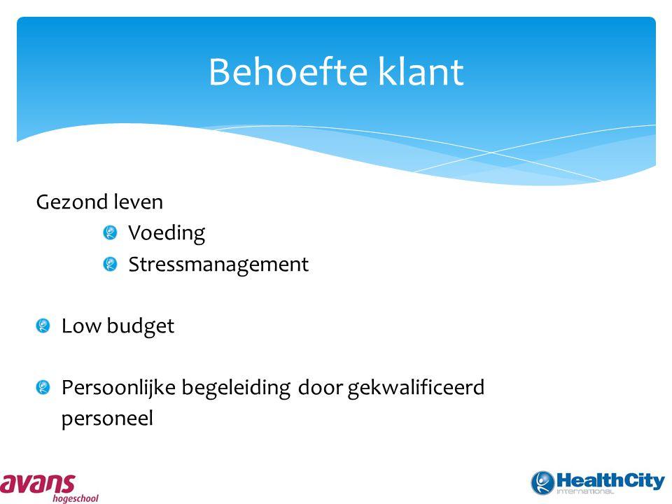 Behoefte klant Gezond leven Voeding Stressmanagement Low budget