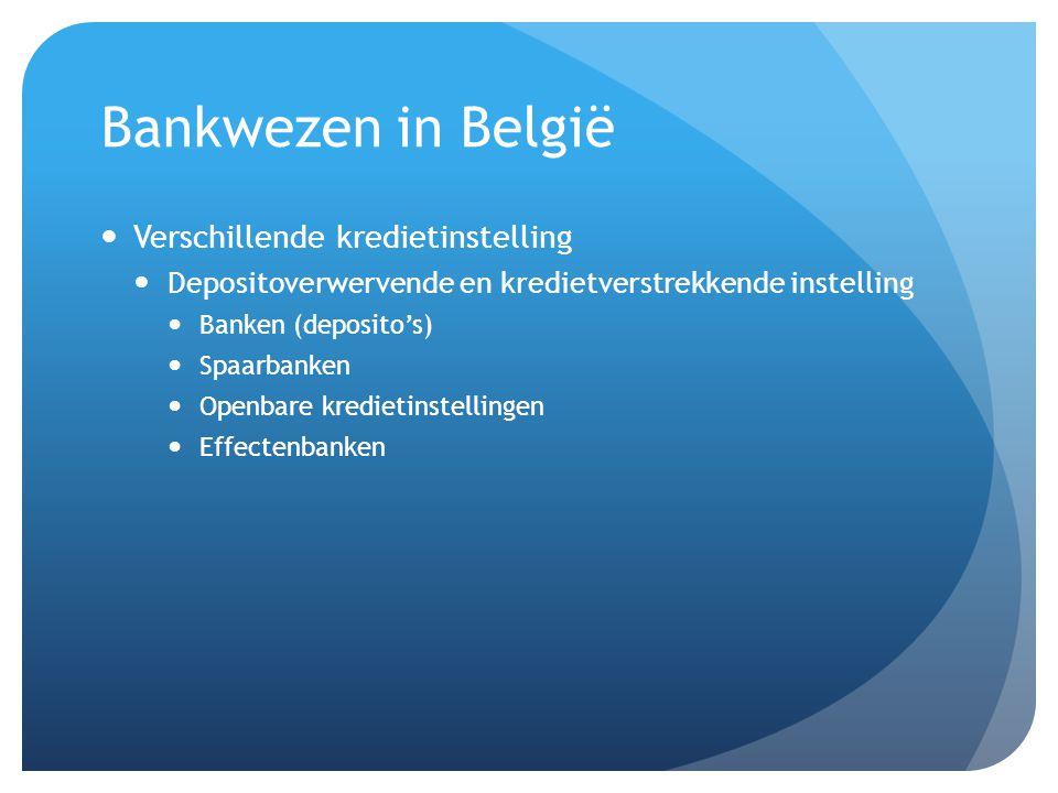 Bankwezen in België Verschillende kredietinstelling