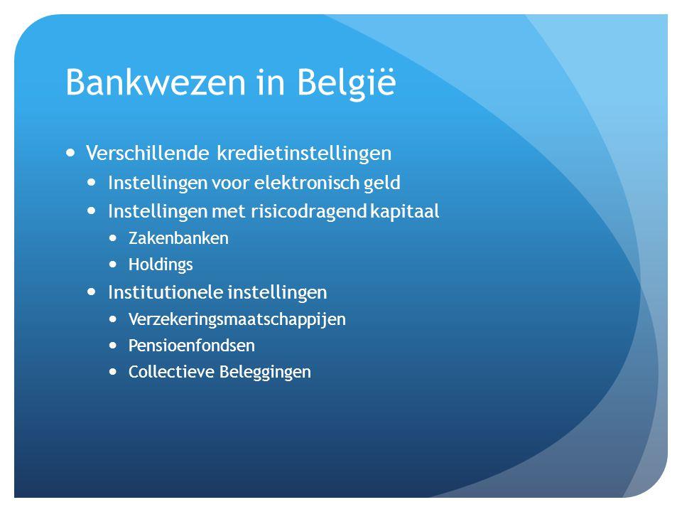 Bankwezen in België Verschillende kredietinstellingen