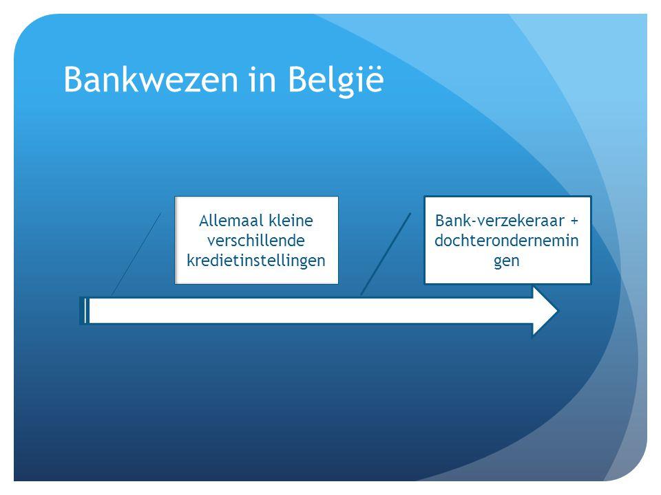 Bankwezen in België Allemaal kleine verschillende kredietinstellingen