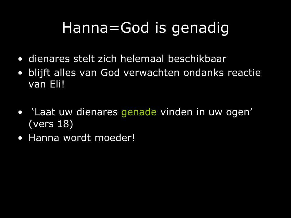 Hanna=God is genadig dienares stelt zich helemaal beschikbaar