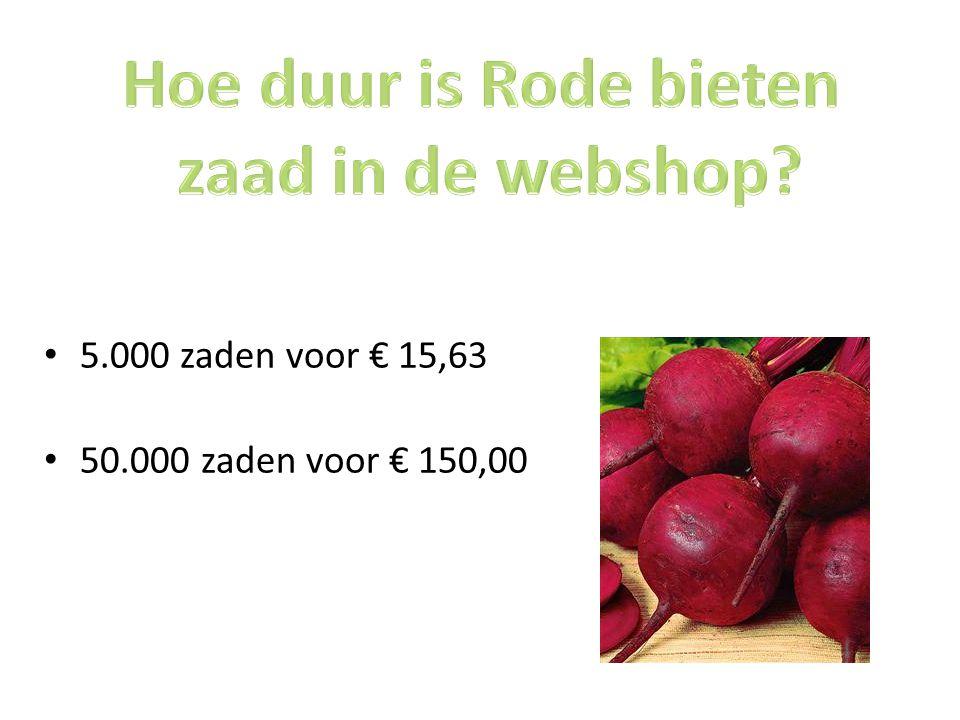Hoe duur is Rode bieten zaad in de webshop