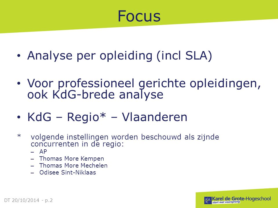 Focus Analyse per opleiding (incl SLA)