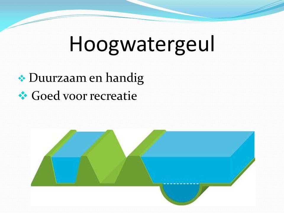 Hoogwatergeul Duurzaam en handig Goed voor recreatie