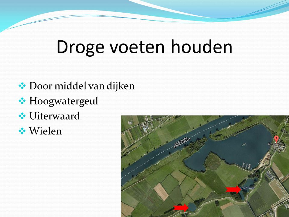 Droge voeten houden Door middel van dijken Hoogwatergeul Uiterwaard