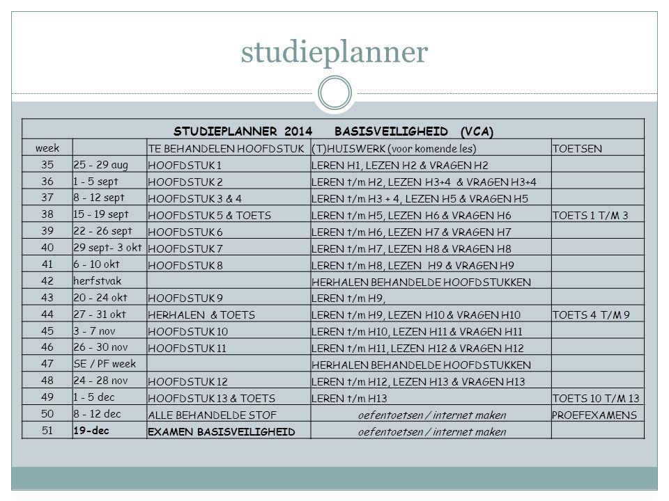 STUDIEPLANNER 2014 BASISVEILIGHEID (VCA)