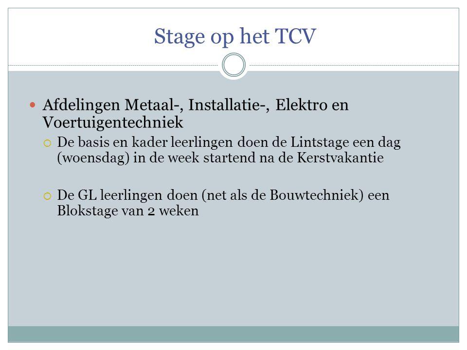 Stage op het TCV Afdelingen Metaal-, Installatie-, Elektro en Voertuigentechniek.