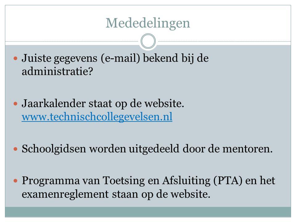 Mededelingen Juiste gegevens (e-mail) bekend bij de administratie