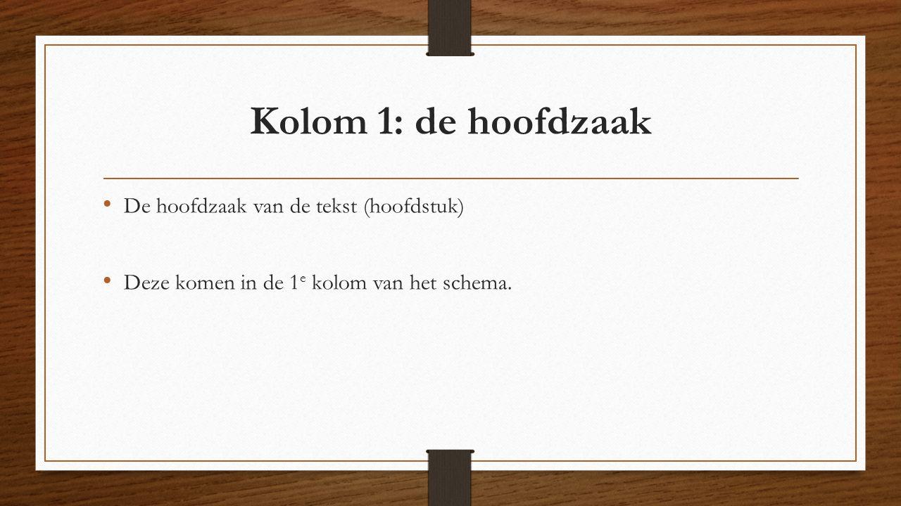 Kolom 1: de hoofdzaak De hoofdzaak van de tekst (hoofdstuk)