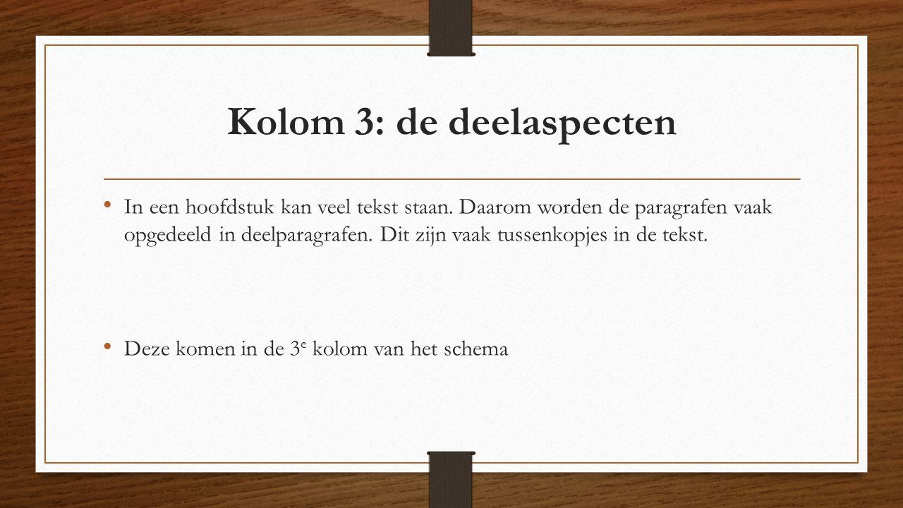 Kolom 3: de deelaspecten
