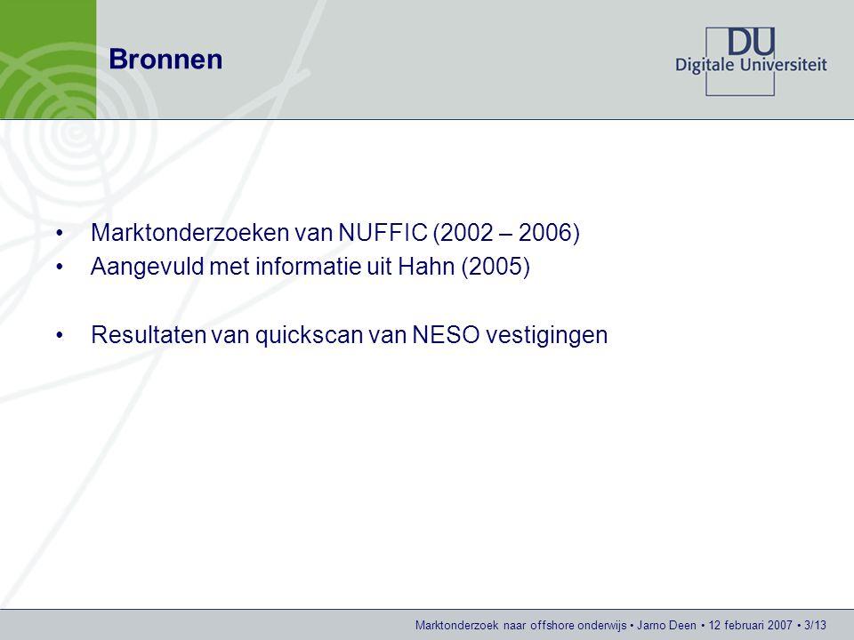 Bronnen Marktonderzoeken van NUFFIC (2002 – 2006)